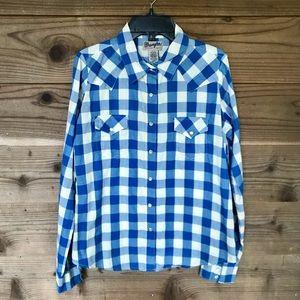 Wrangler Pearl Snap Plaid Wrancher Shirt Sz Med